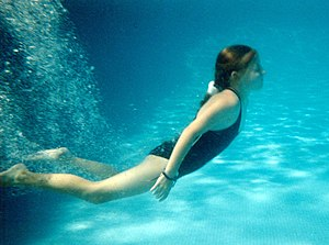 A girl in a swimming pool - underwater. From &...