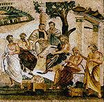 École de philosophie, mosaïque de Pompéi.