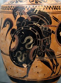 Ajax carrying the body of Achilles. Attic black-figure lekythos, ca. 510 BC. From Sicily.