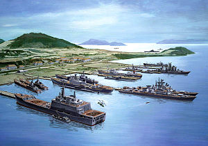 Artist's concept of Soviet ships in port at Ca...