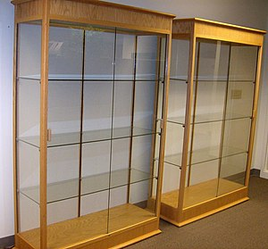Two empty display cabinets