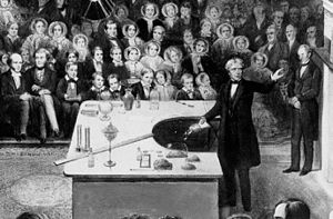 Detail of a lithograph of Michael Faraday deli...