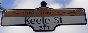 A Keele Street street sign, in Junction neighb...