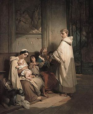 Louis Gallait - Monk Feeding the Poor - WGA8437