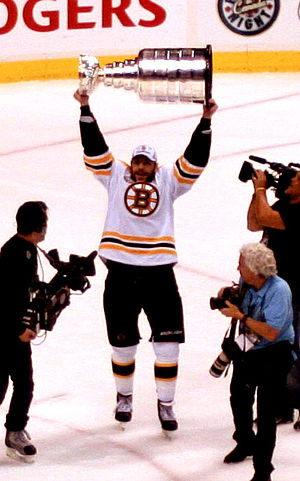 Boston Bruins forward Milan Lucic celebrates w...