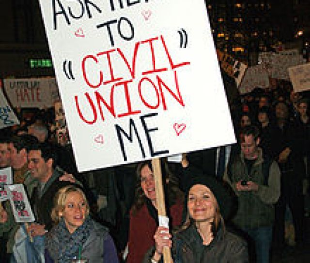 The Notion Of Civil Unions Is Rejected By Some Such As This Protester At A Large Demonstration In New York City Against California Proposition 8