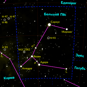 Sirius in Canis major constellation