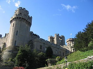 Caesar's Tower at Warwick Castle on the left w...