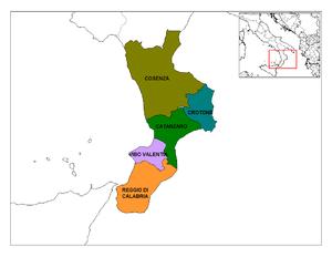 "Provinces of Calabria in the ""toe"" o..."