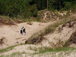 English: The dune climb near the bathhouse, In...