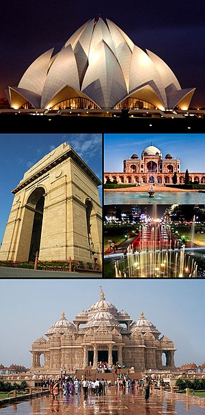 From top clockwise: Lotus Temple, Humayun's To...