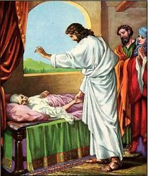 anonymous illustration of Jesus healing Simon's mother-in-law