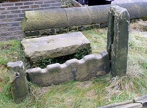 English: Remains of village stocks in the chur...