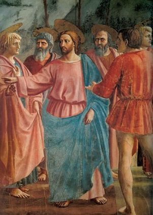 Christ with disciples in the painting.