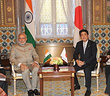 Abe with current Prime Minister of India, Narendra Modi, in 2014
