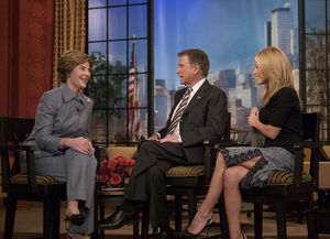 Laura Bush participates in an interview with R...