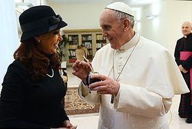 Francis with Argentine president Cristina Fernández de Kirchner