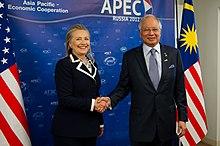 Najib meeting US Secretary of State Hillary Clinton in Vladivostok, 9 September 2012