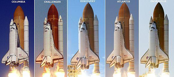 Los cinco transbordadores funcionales de la NASA durante algunos lanzamientos