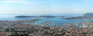 Toulon and its military harbour, seen from Mou...