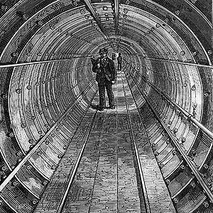 Tower Subway, showing tubular construction wit...