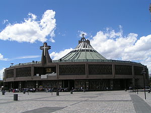 Exterior view of the modern Basilica of Our La...