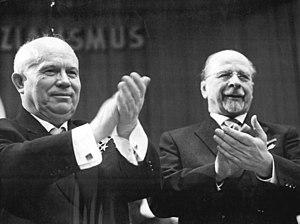 Ulbricht (right) with Nikita Khrushchev in 1963