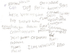 English: A girl's wish list for Santa Claus.