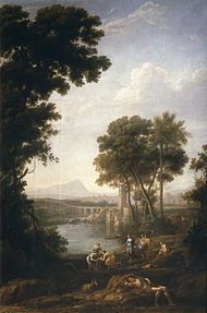 Paisaje con Moisés salvado de las aguas del Nilo.