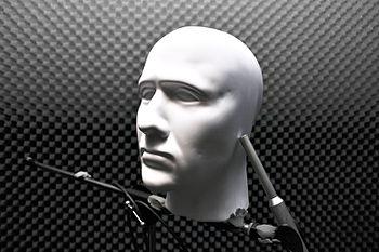 English: A dummy head being used as a binaural...