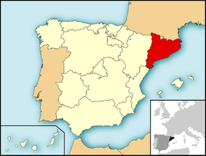 Map of Spain with Catalonia highlighted. Españ...