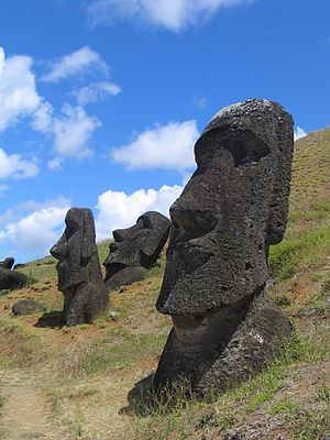 Most of the moais in Easter Island are carved ...