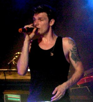 Nick Carter performing with The Backstreet boy...