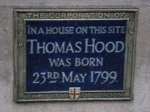 English: Plaque re Thomas Hood, Poultry, EC2 B...