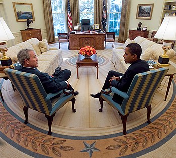 English: President George W. Bush and Presiden...