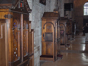 Confessionals in the cathedral of Santiago de ...