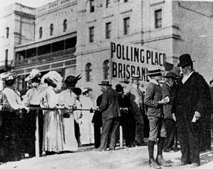 Voters outside a polling place, Brisbane, Quee...