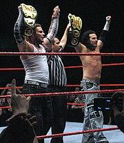 The Hardy Boyz, Jeff (far left) and Matt (far right).