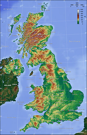Topographical map of the United Kingdom, Penni...