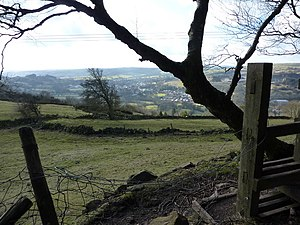 Wire fence,(broken) and stile On a path coming...
