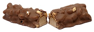 English: A Baby Ruth candy bar split in half. ...