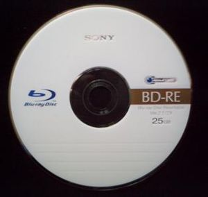 A photo of a blank rewritable Blu-ray disc. Th...