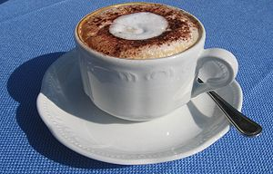 A cup of cappuccino. This picture was taken in...