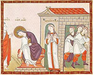 English: Jesus and the woman taken in adultery...
