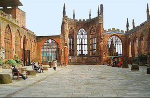 The ruins of the old Coventry Cathedral.