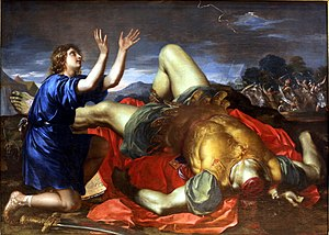 David thanking God after the death of Goliath-...