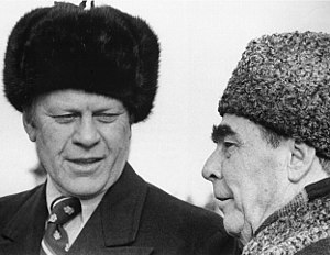 Gerald Ford wearing an ushanka and Leonid Brez...