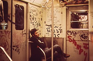 English: Heavily tagged subway car in NY in 1973.