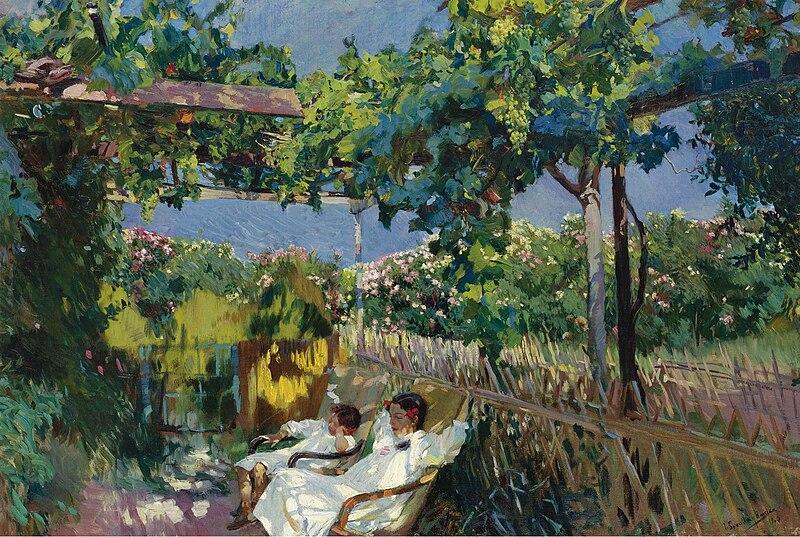 File:Joaquin Sorolla y Bastida - La siesta en el jardin.jpg