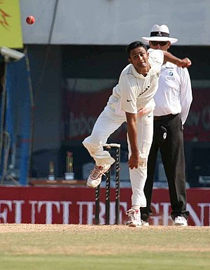 Anil Kumble of India in action